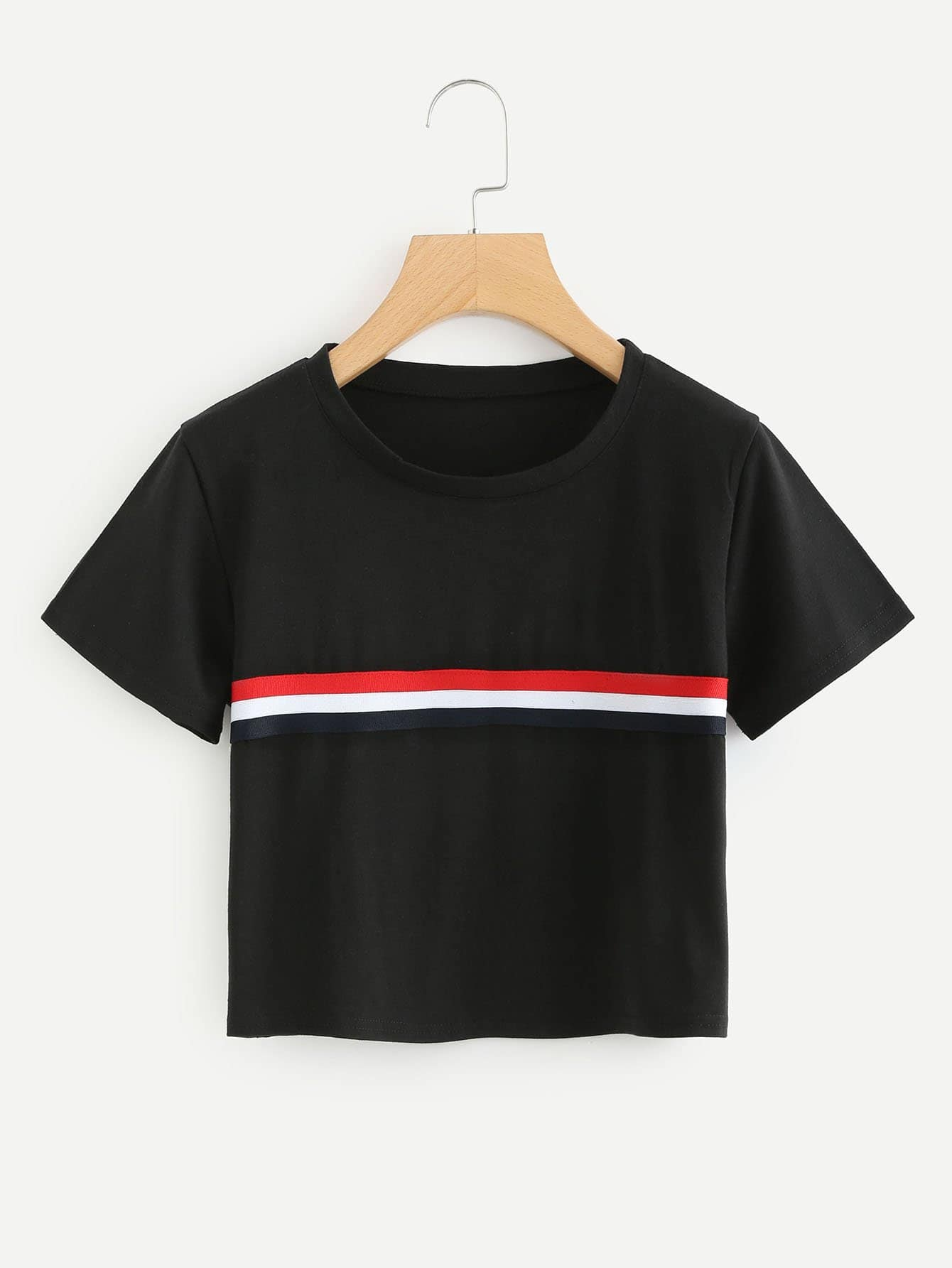 Striped Tape Detail Crop Tee striped tape detail crop tee