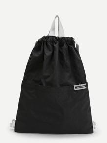 Patch Detail Drawstring Nylon Backpack