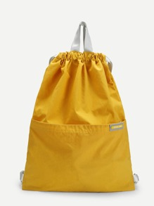 Patch Detail Drawstring Nylon Backpack