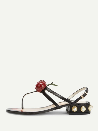 Cherry & Faux Pearl Decorated Toe Post Sandals