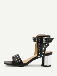 Rivet Peep Toe Chunky Heels