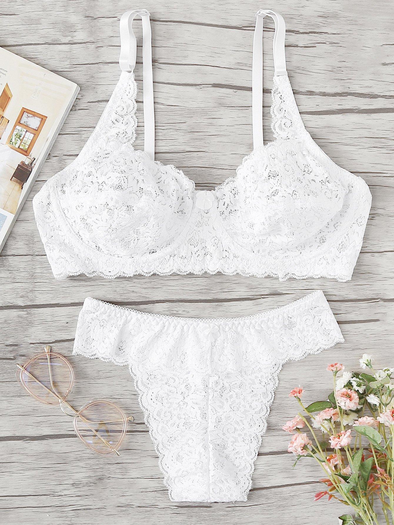 Plus Scalloped Trim Lace Lingerie Set lace up detail scalloped trim lace lingerie set