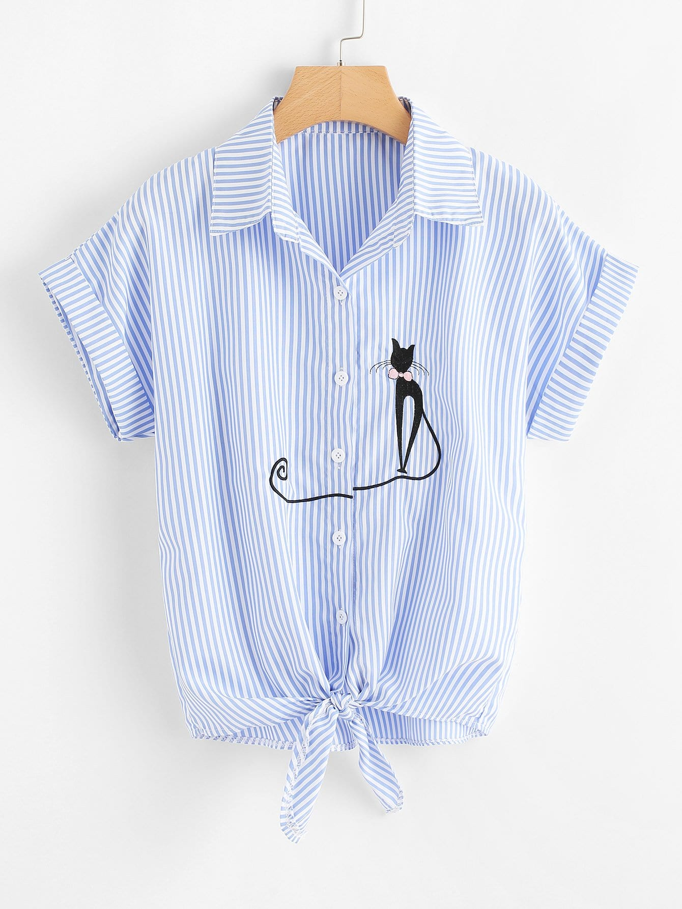 Vertical Striped Cat Embroidery Cuffed Shirt