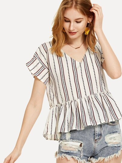 Contrast Striped Pep Hem Blouse