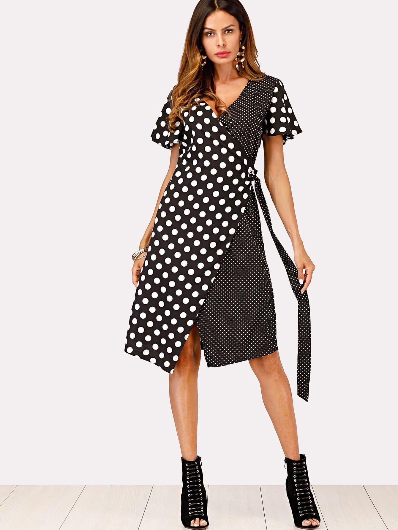 Contrast Polka Dot Knot Side Dress guitar print knot side dress