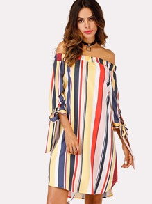 Off Shoulder Striped Knot Cuff Dress