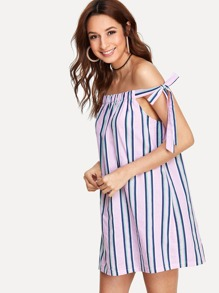 Multi Striped Off Shoulder Dress