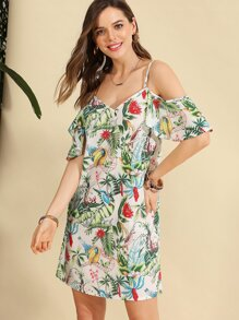 Random Jungle Print Cami Dress