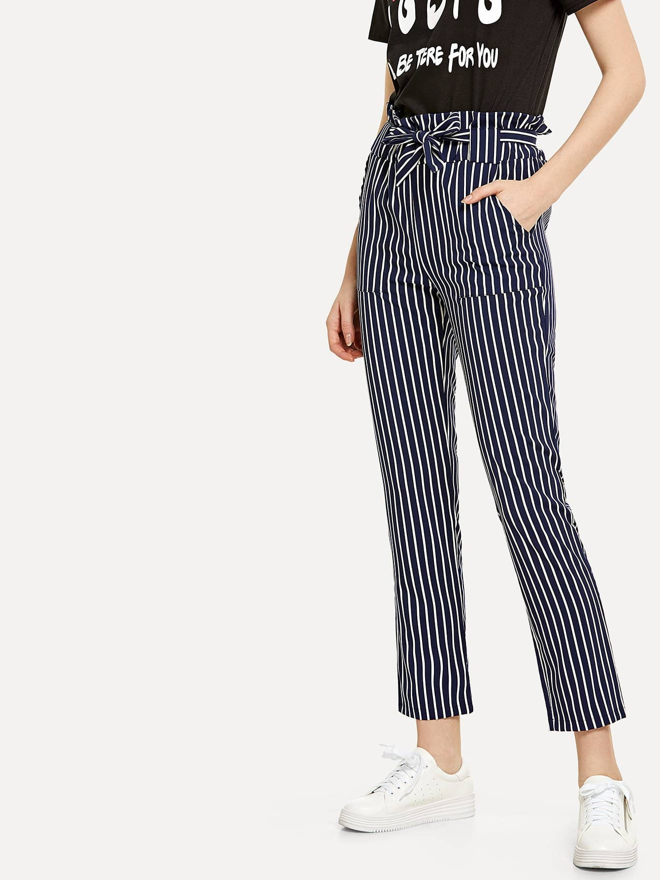 Tie Waist Striped Pants striped ruffled waist self tie pants