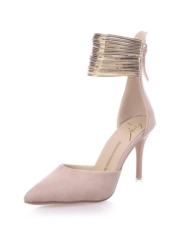 Stiletto Metallic Ankle Strap Heels stiletto metallic ankle strap heels