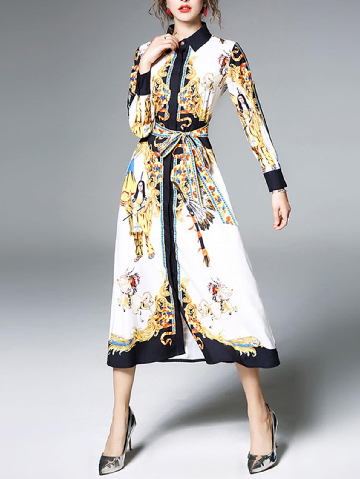 Tie Waist Graphic Print Shirt Dress flower print tie waist shirt dress