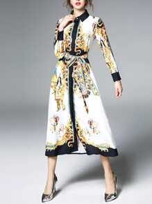 Tie Waist Graphic Print Shirt Dress