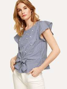 Faux Pearl Beaded Checked Top