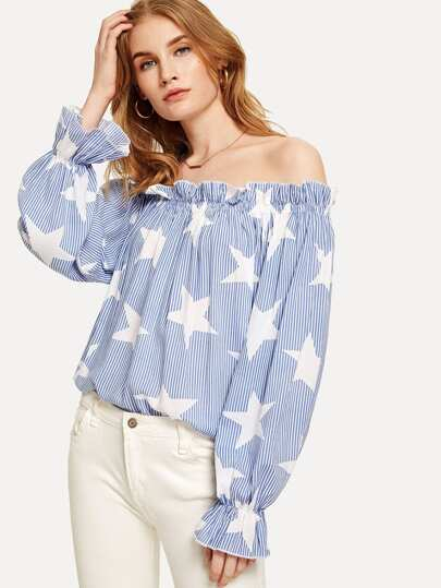 Off Shoulder Frill Trim Striped Top