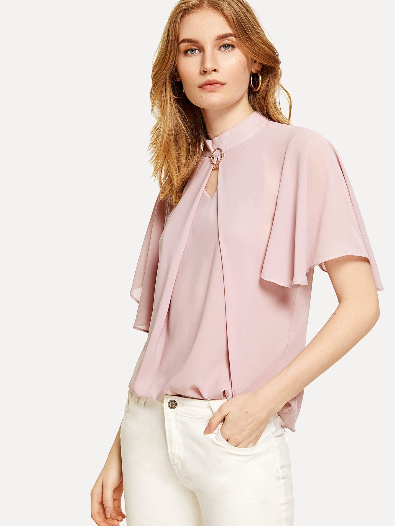 Fluted Sleeve Ring Detail Blouse bow detail fluted sleeve laser cut scalloped blouse