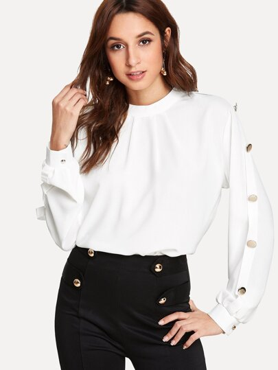 Button Sleeve Keyhole Back Top