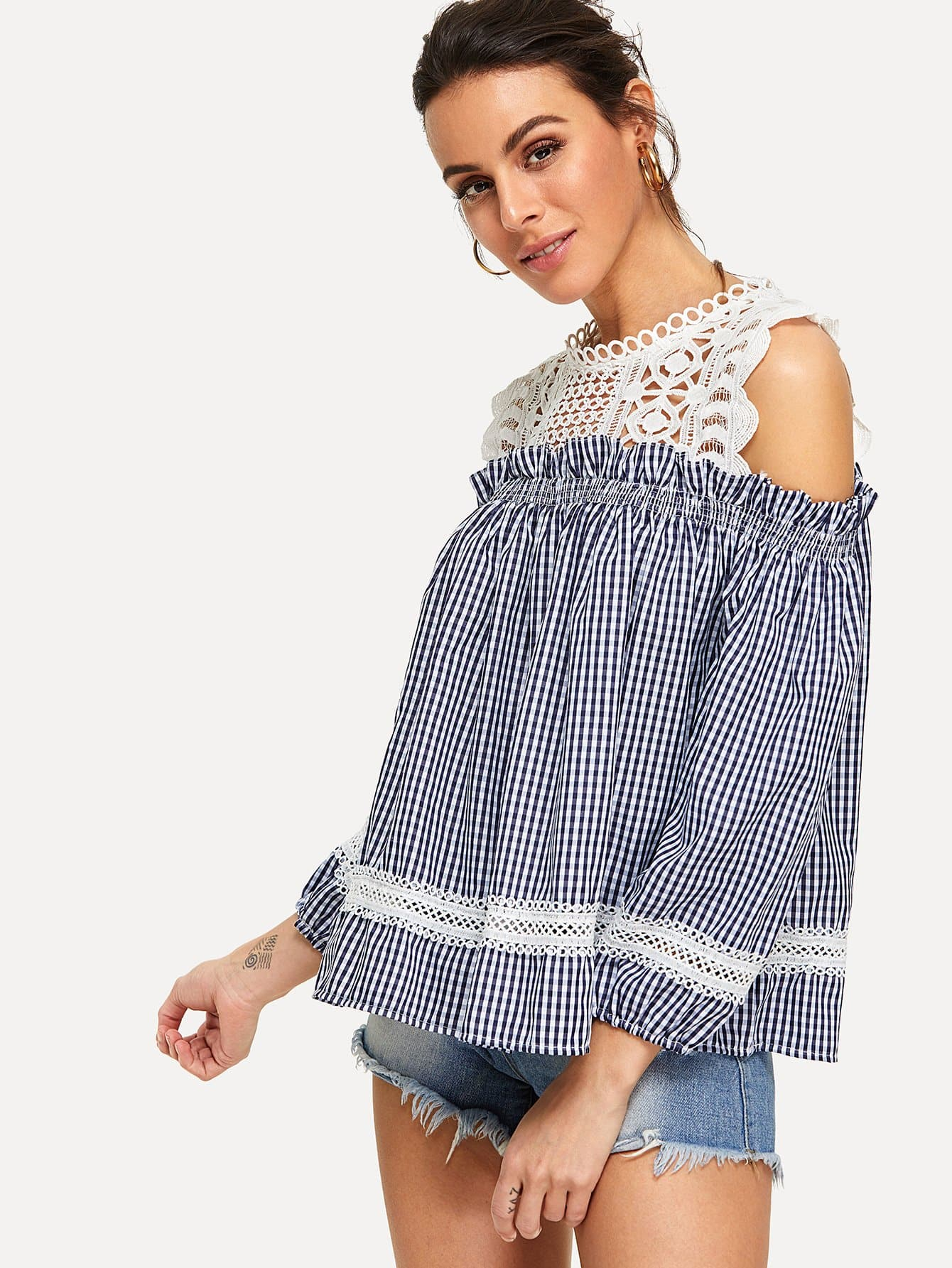 Lace Panel Frill Trim Checked Top frill trim lace yoke top