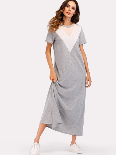 Chevron Panel Tee Dress