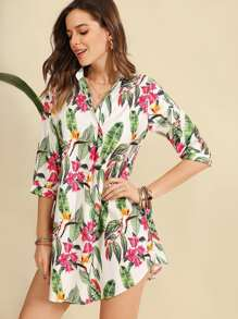 Leaf Print Curved Hem Dress