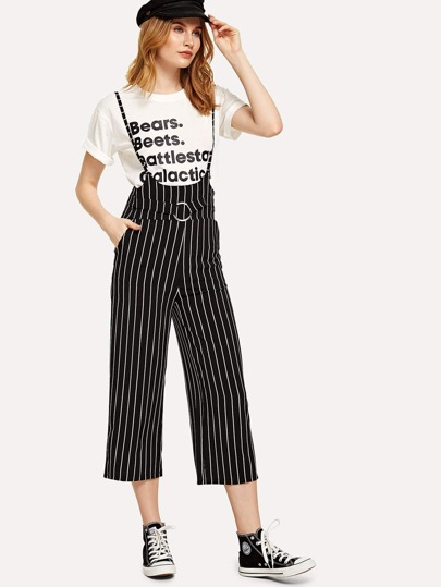 Ring Detail Striped Pinafore Jumpsuit