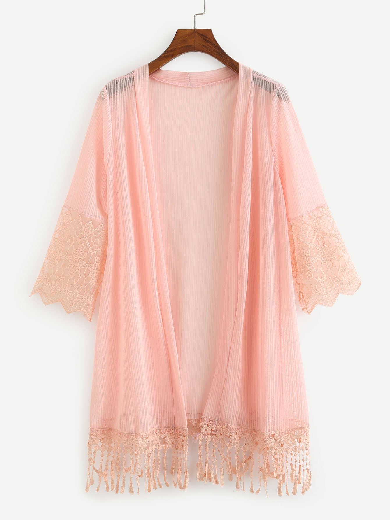 Embroidered Mesh Panel Fringe Hem Kimono slit side asymmetrical hem embroidery mesh kimono