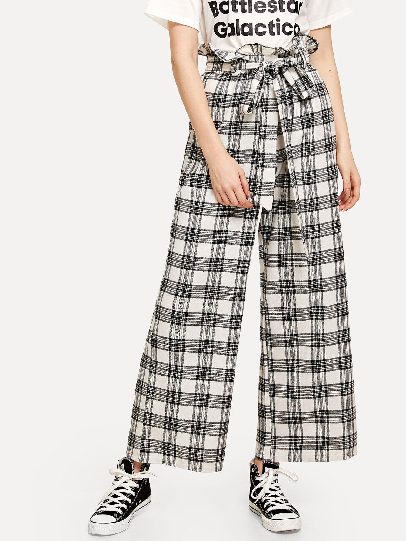 Frill Trim Self Tie Waist Checked Pants self tie waist frill trim pleated pants