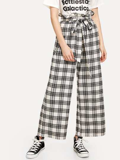 Frill Trim Self Tie Waist Checked Pants