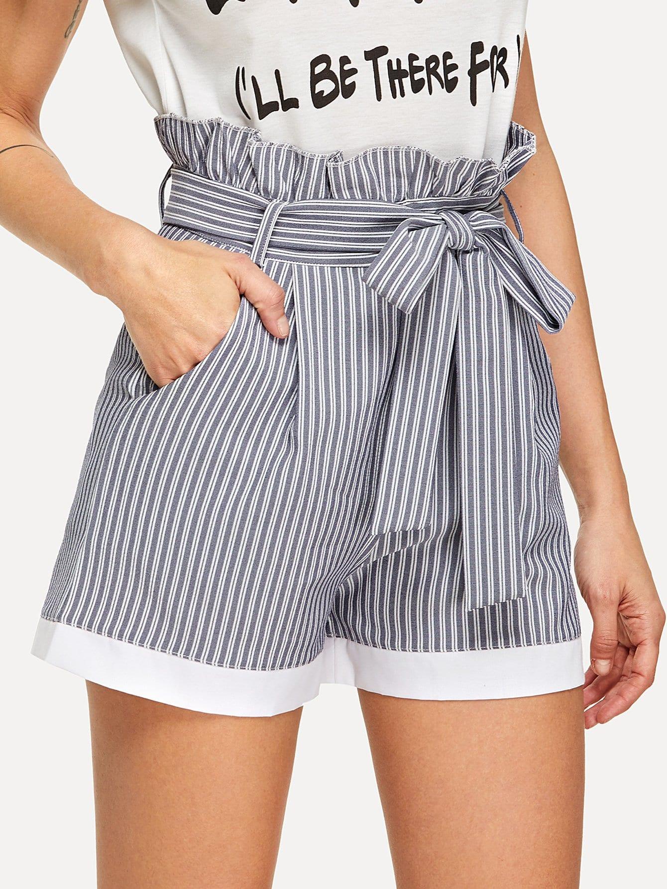 Frill Trim Self Tie Waist Striped Shorts striped ruffled waist self tie pants