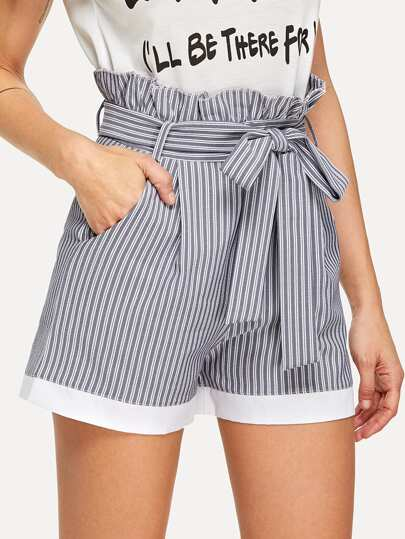 Frill Trim Self Tie Waist Striped Shorts