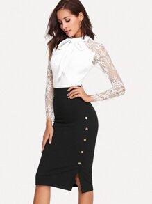 Button Side Zipper Back Skirt