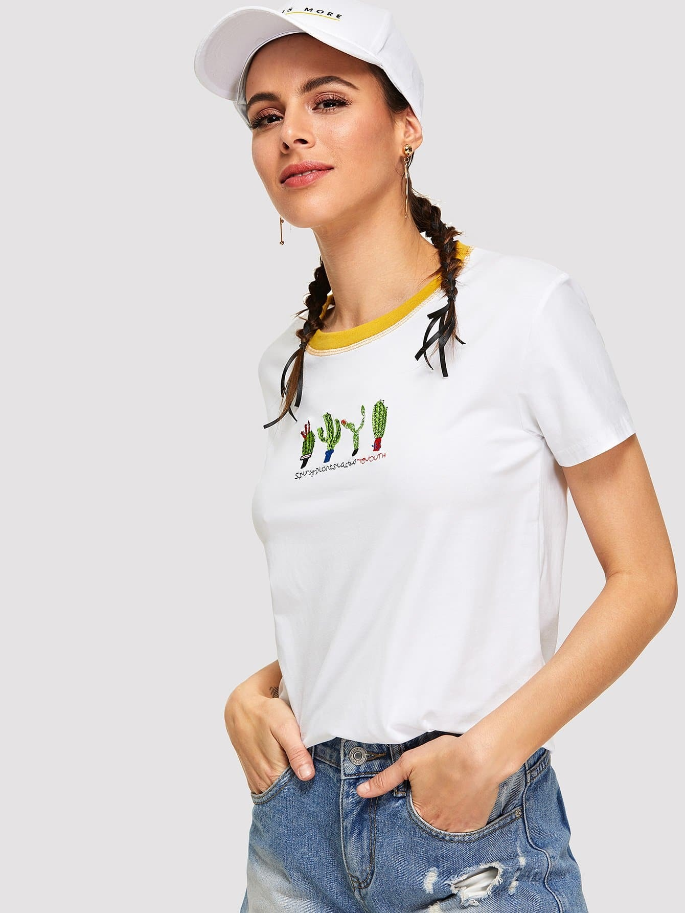 Cactus Embroidered Tee butterfly embroidered tee