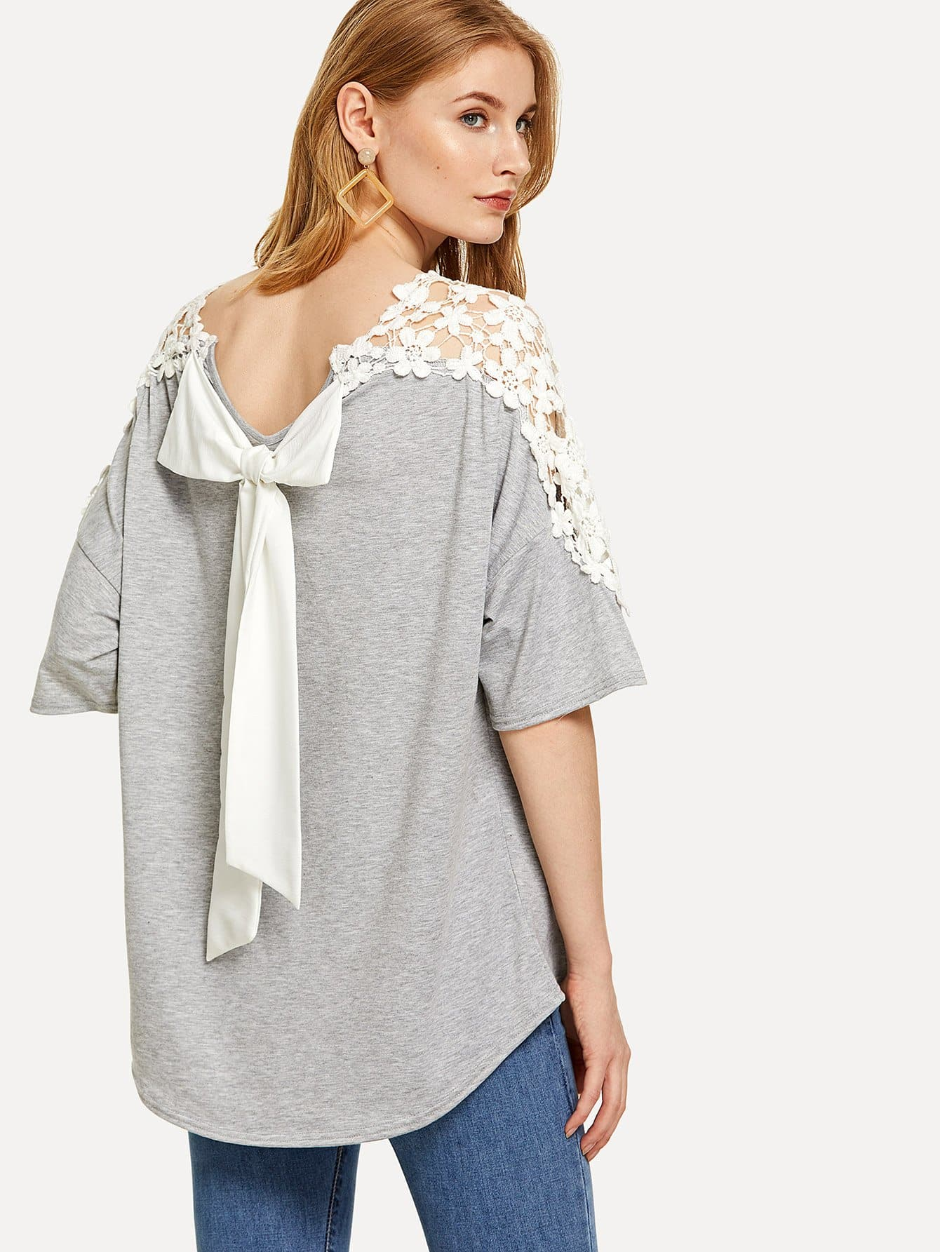 Drop Shoulder Lace Pearl Tee two tone drop shoulder tee