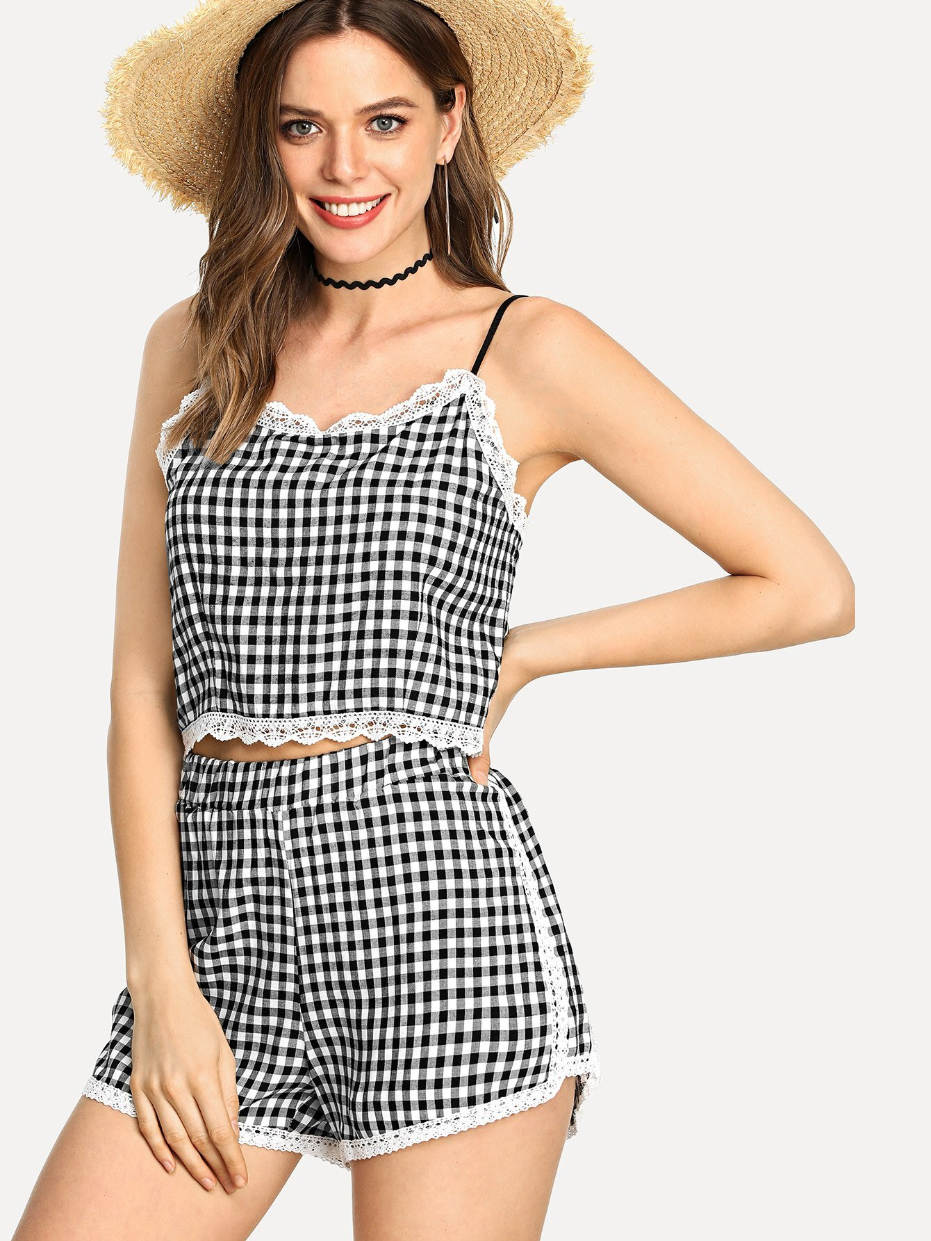 Lace Trim Checked Cami With Shorts lace trim tee with shorts