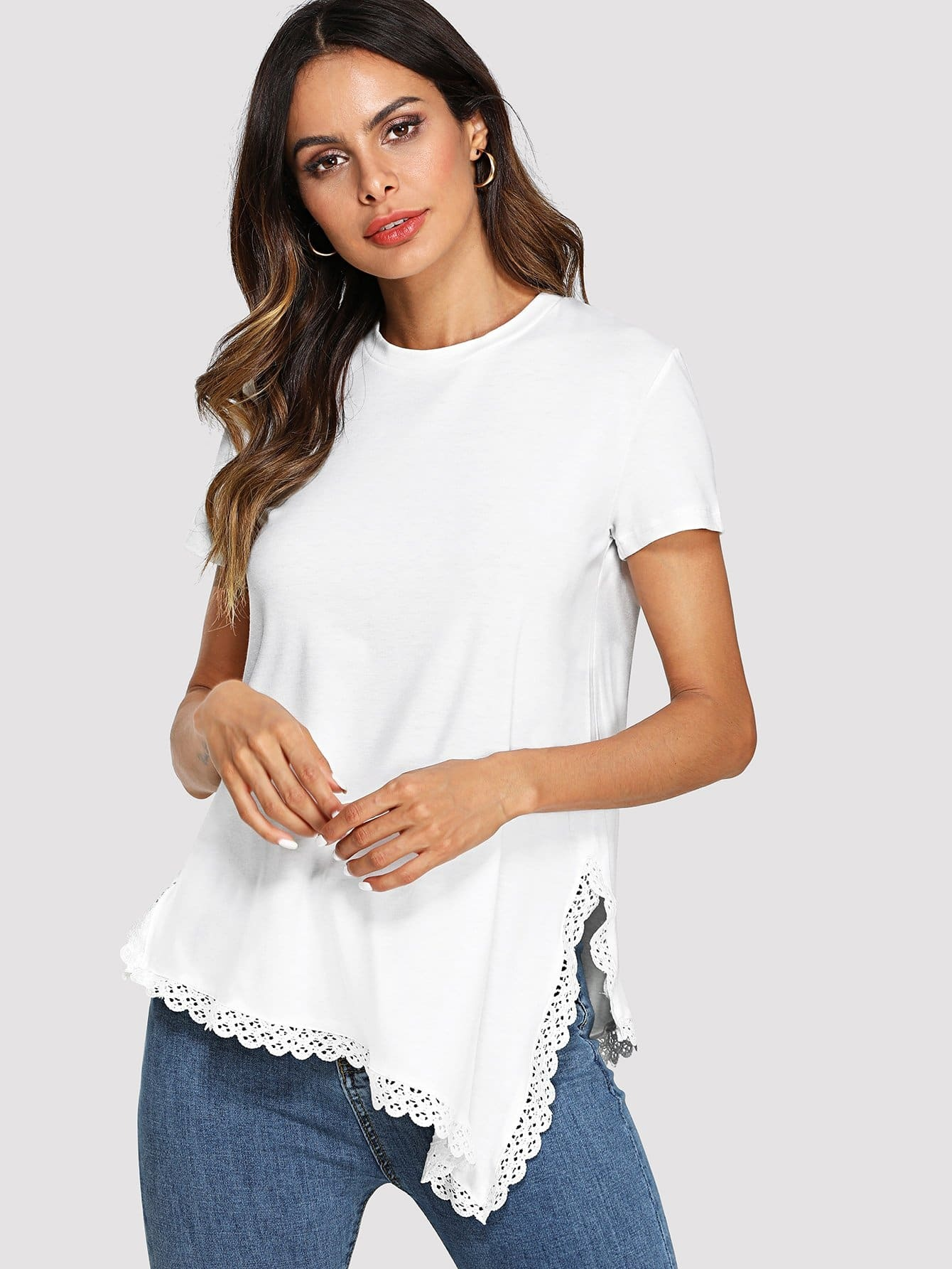 Lace Hem Dip Hem Tee dip hem tee dress