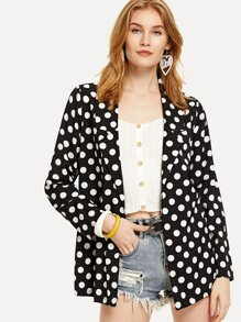 Polka Dot Open Front Blazer