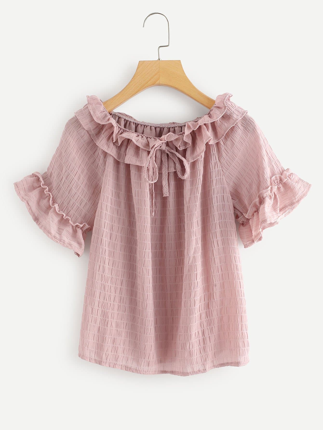 Tiered Layer Knot Neck Ruffle Sleeve Top tiered layer ruffle jacket