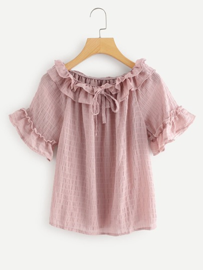 Tiered Layer Knot Neck Ruffle Sleeve Top