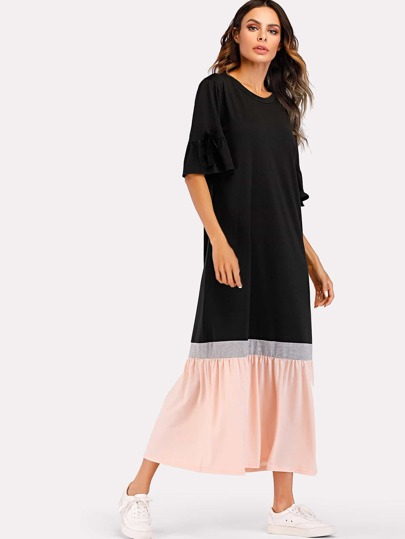 Colorblock Hem Flounce Knot Sleeve Dress