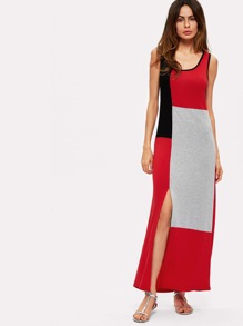 Color Block Split Hem Dress