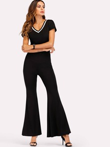 V Neck Flare Leg Jumpsuit