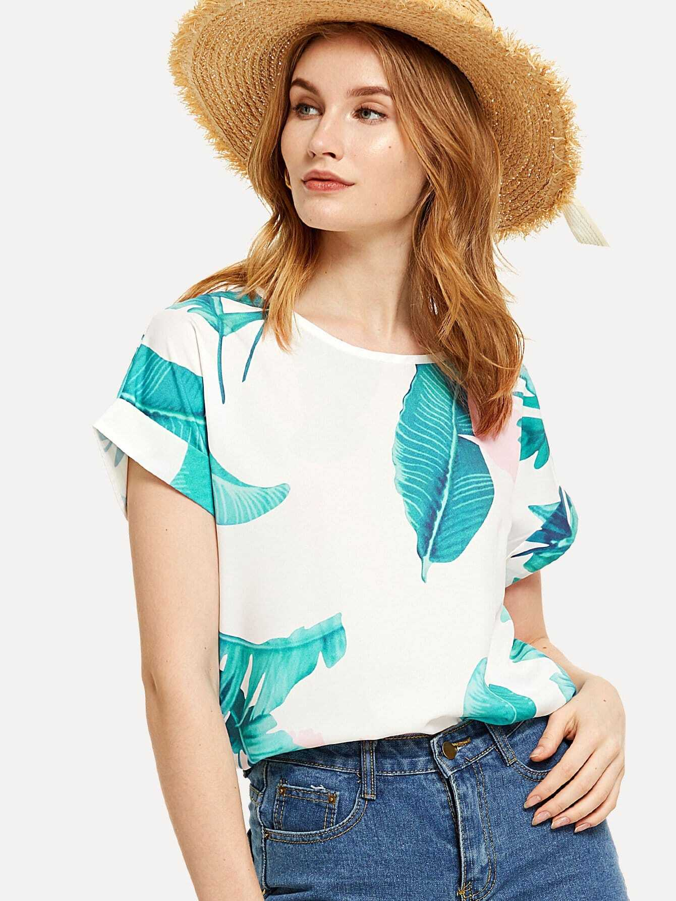 Tropical Print Roll Up Sleeve Tee roll up sleeve button front tee