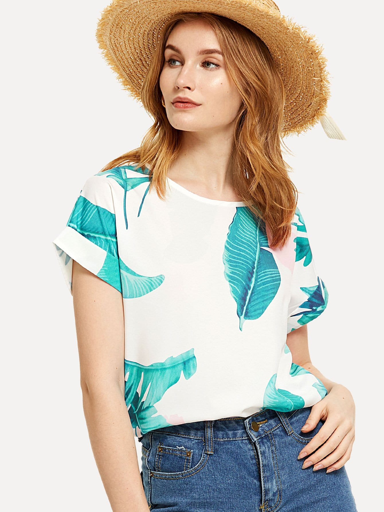 Tropical Print Roll Up Sleeve Tee stripe print roll up sleeve crop tee
