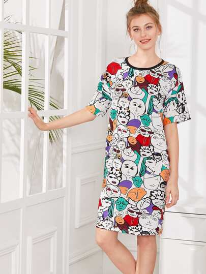 Cartoon Print Nightdress