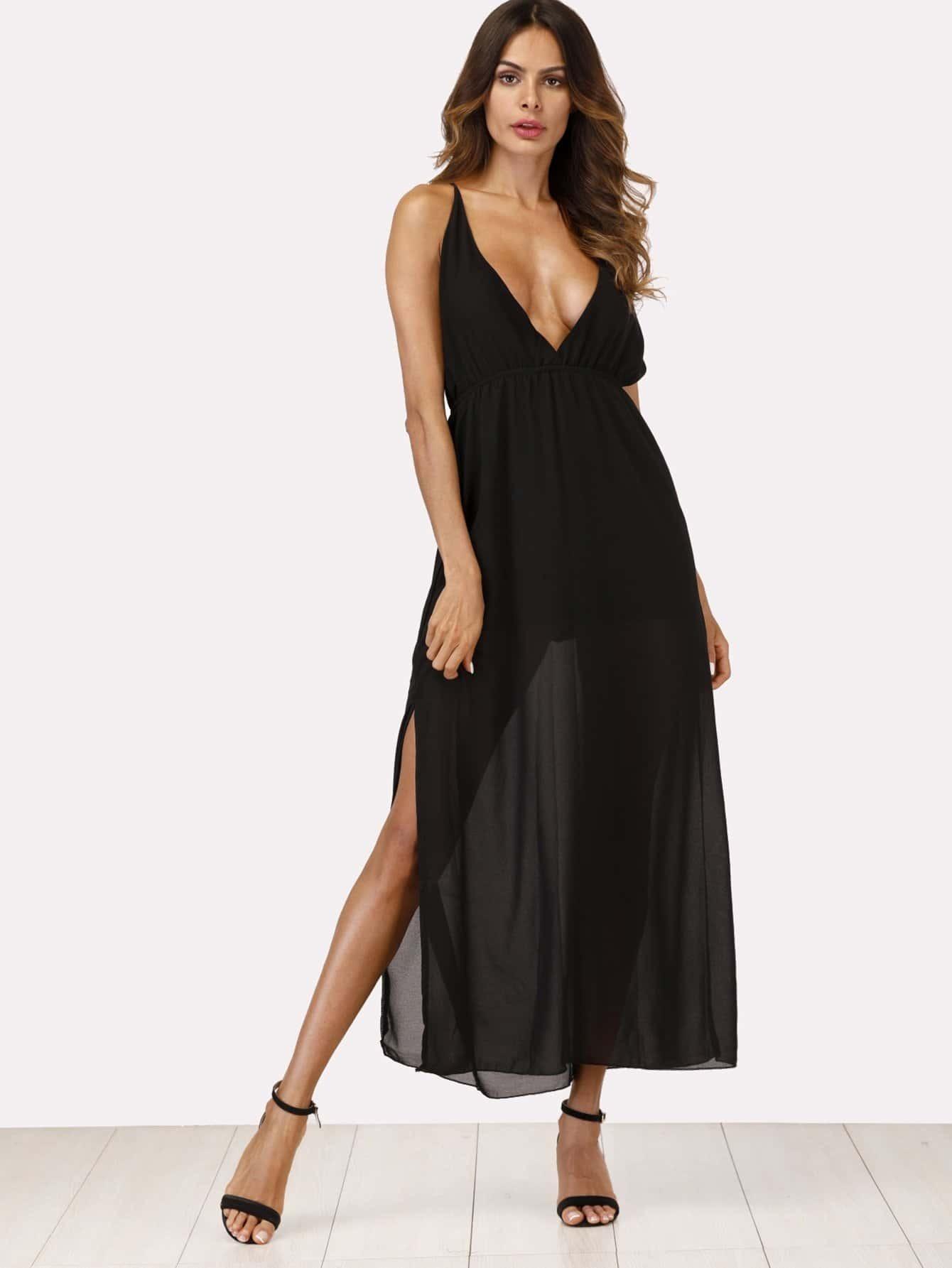 Split Side Criss Cross Back Dress long criss cross open back formal party dress