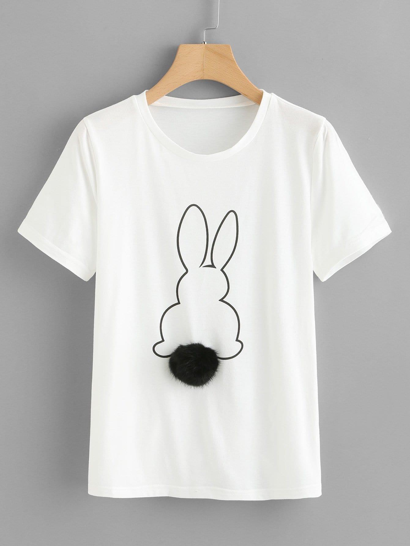 Купить Кролик-печать Faux Fur Pompom Detail Tee, null, SheIn