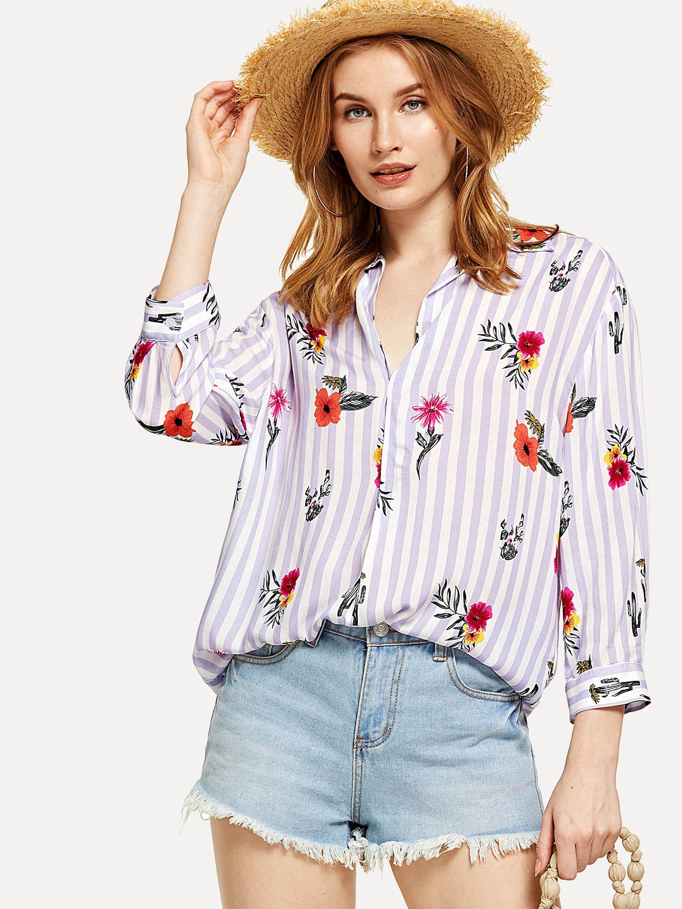Flower And Stripe Print Curved Hem Shirt pocket patch curved hem snake skin print shirt