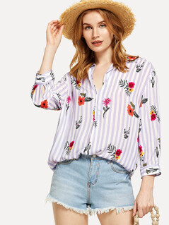 Flower And Stripe Print Curved Hem Shirt