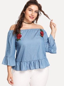 Flower Embroidered Ruffle Bardot Top