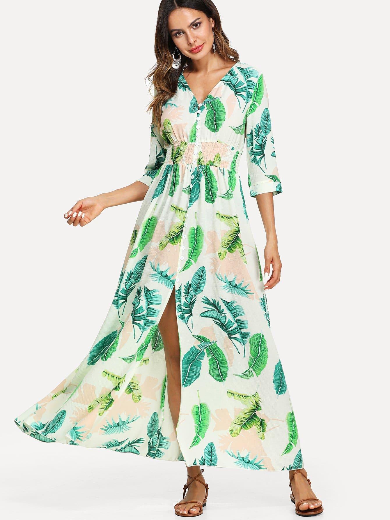 Shirred Waist Button Up Tropical Dress shirred waist zip back fit
