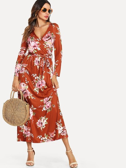 Self Belted Wrap Floral Dress